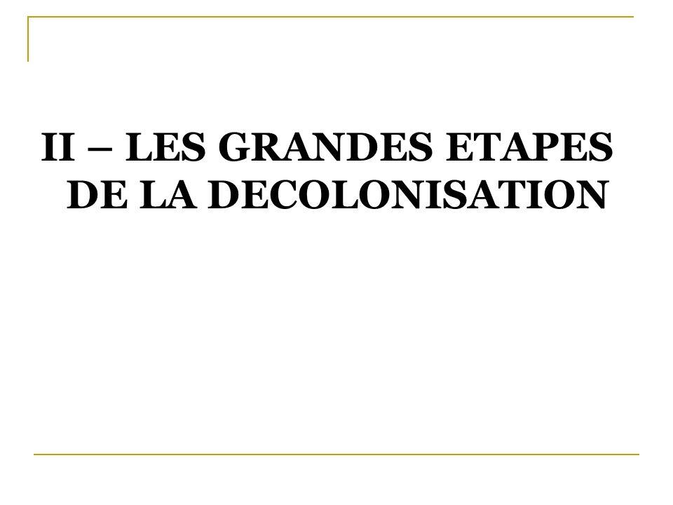 II – LES GRANDES ETAPES DE LA DECOLONISATION