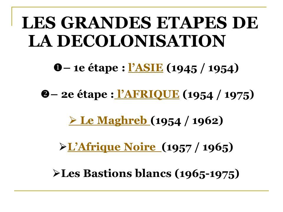 – 2e étape : l'AFRIQUE (1954 / 1975) Les Bastions blancs (1965-1975)