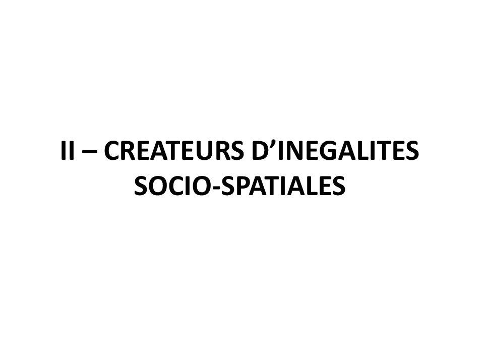 II – CREATEURS D'INEGALITES SOCIO-SPATIALES