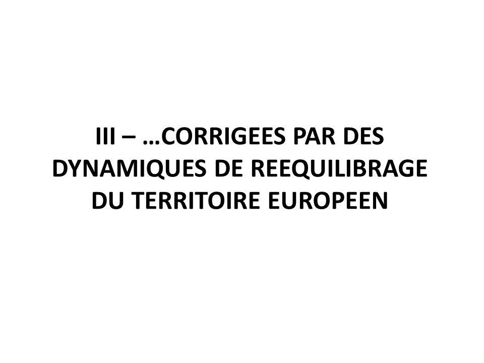 III – …CORRIGEES PAR DES DYNAMIQUES DE REEQUILIBRAGE DU TERRITOIRE EUROPEEN