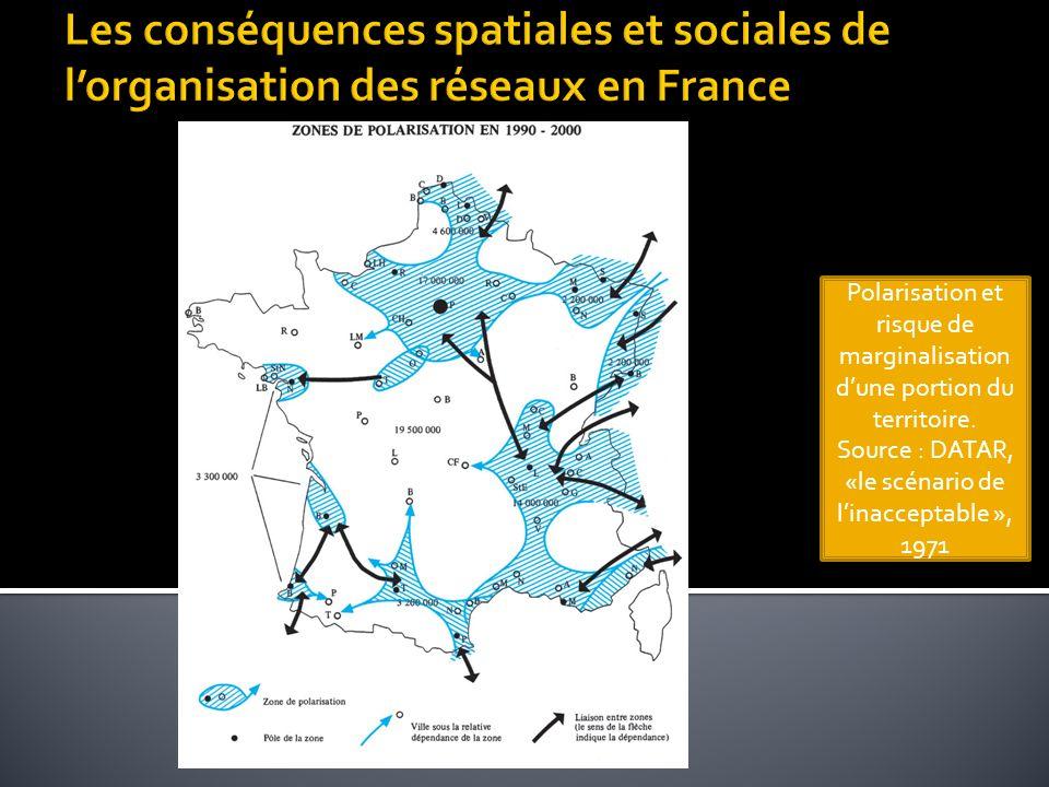 Les conséquences spatiales et sociales de l'organisation des réseaux en France