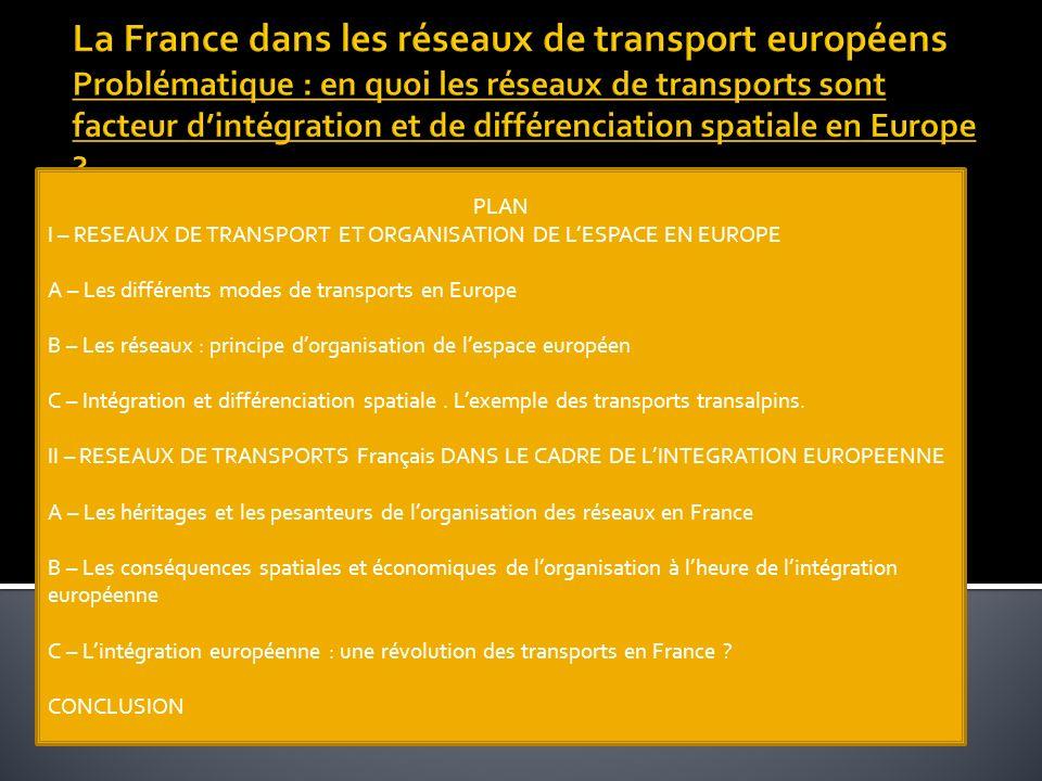 La France dans les réseaux de transport européens Problématique : en quoi les réseaux de transports sont facteur d'intégration et de différenciation spatiale en Europe