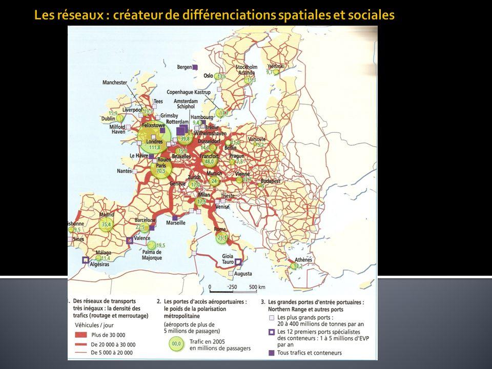 Les réseaux : créateur de différenciations spatiales et sociales