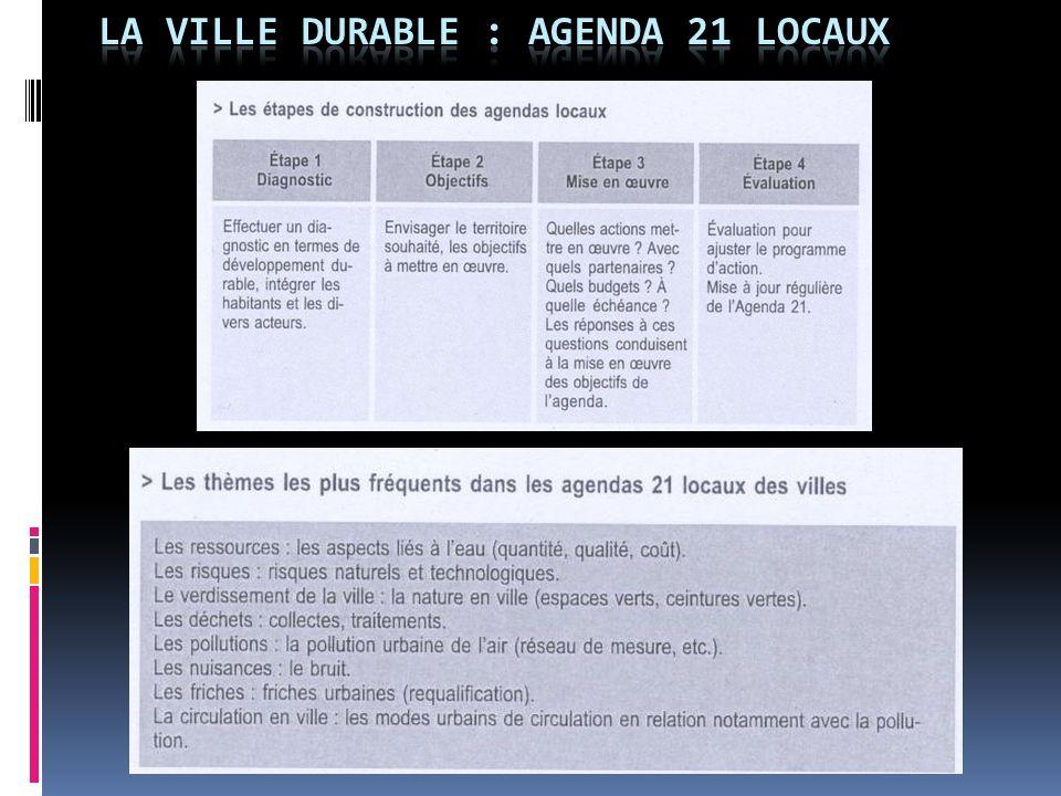 LA VILLE DURABLE : AGENDA 21 LOCAUX