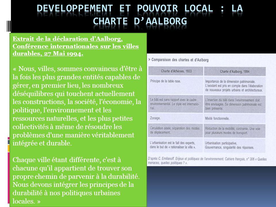 DEVELOPPEMENT ET POUVOIR LOCAL : LA CHARTE D'AALBORG