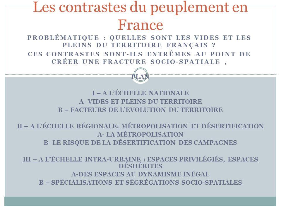 Les contrastes du peuplement en France