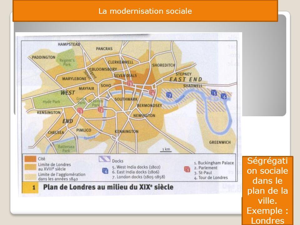 Ségrégation sociale dans le plan de la ville. Exemple : Londres