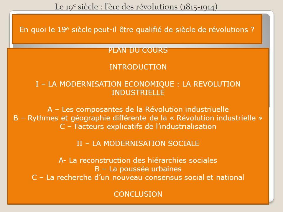 Le 19e siècle : l'ère des révolutions (1815-1914)