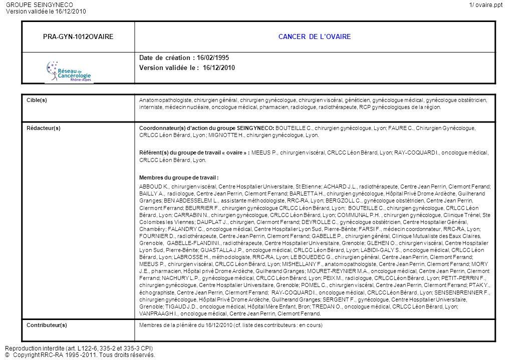 PRA-GYN-1012OVAIRE CANCER DE L'OVAIRE