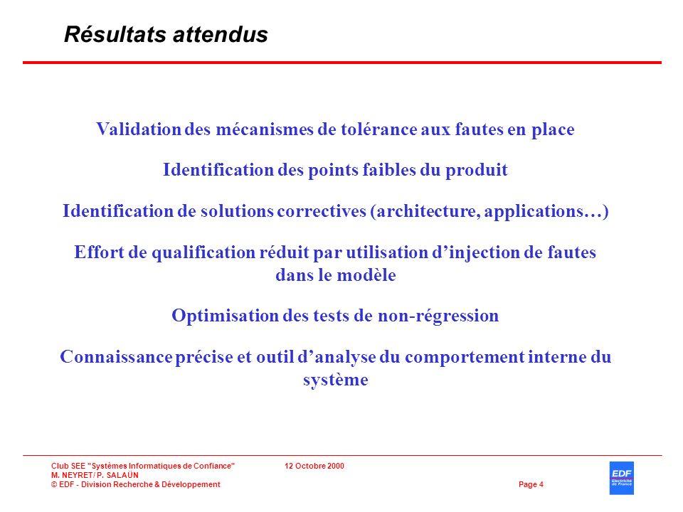 Résultats attendus Validation des mécanismes de tolérance aux fautes en place. Identification des points faibles du produit.
