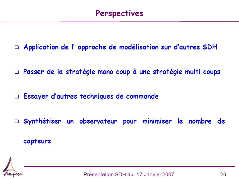 PerspectivesApplication de l' approche de modélisation sur d'autres SDH. Passer de la stratégie mono coup à une stratégie multi coups.
