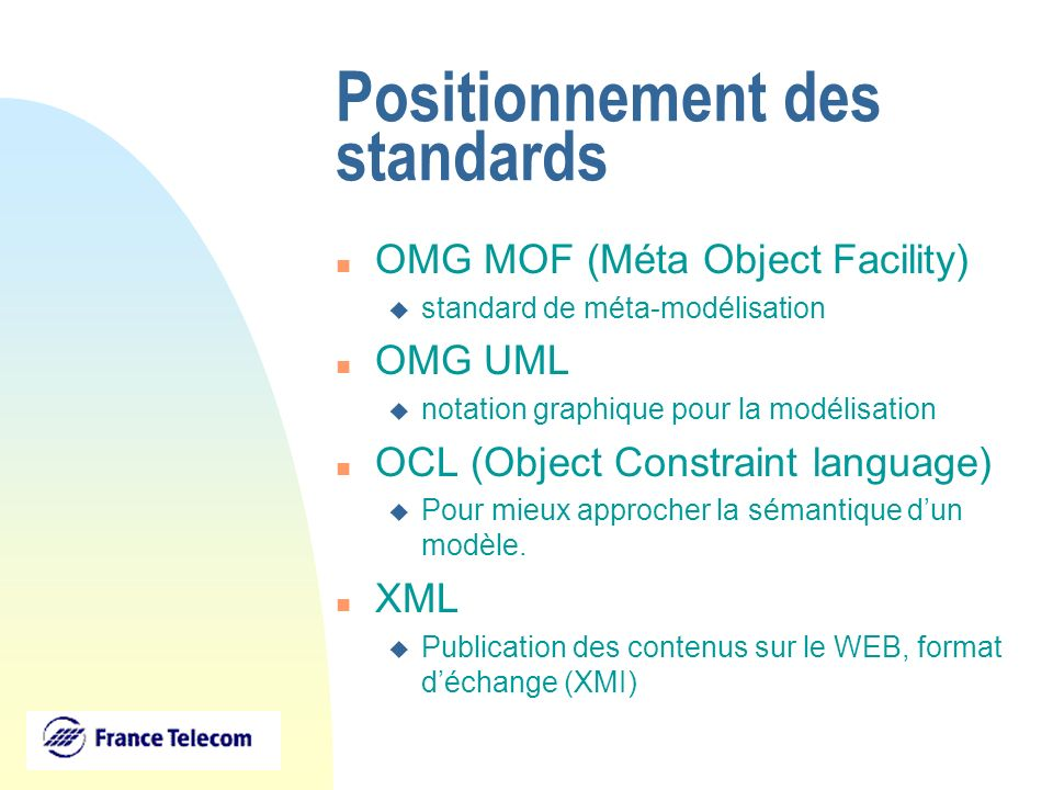 Positionnement des standards