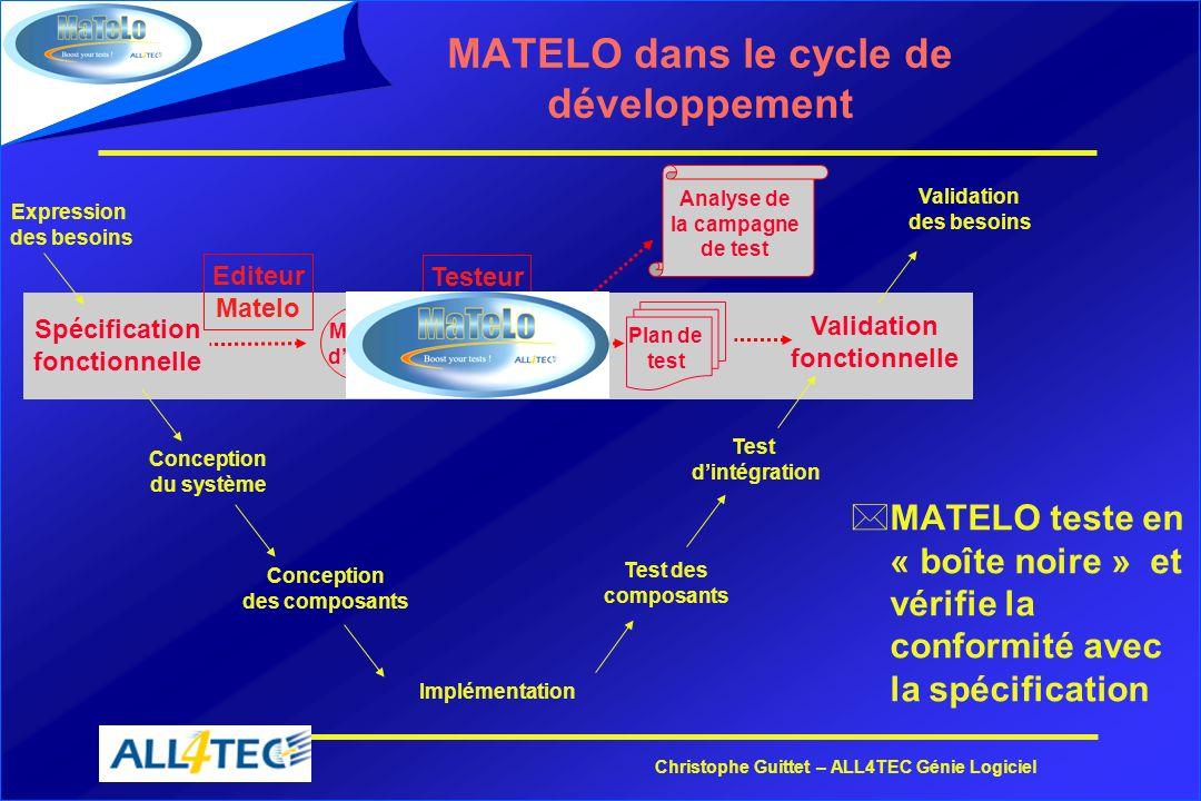MATELO dans le cycle de développement