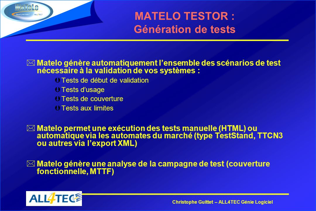MATELO TESTOR : Génération de tests