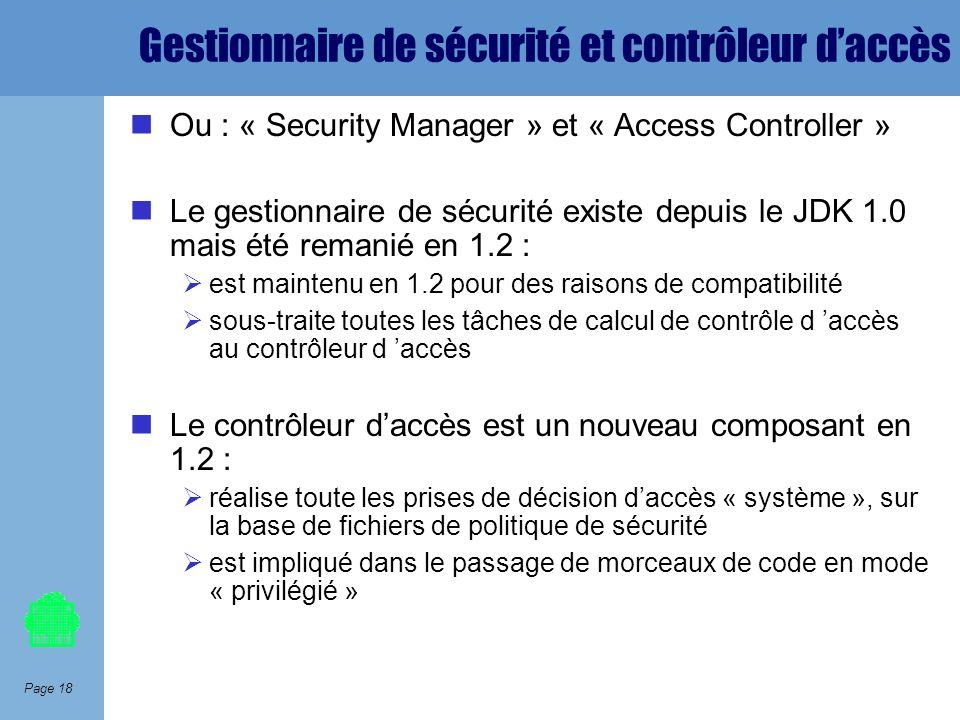 Gestionnaire de sécurité et contrôleur d'accès