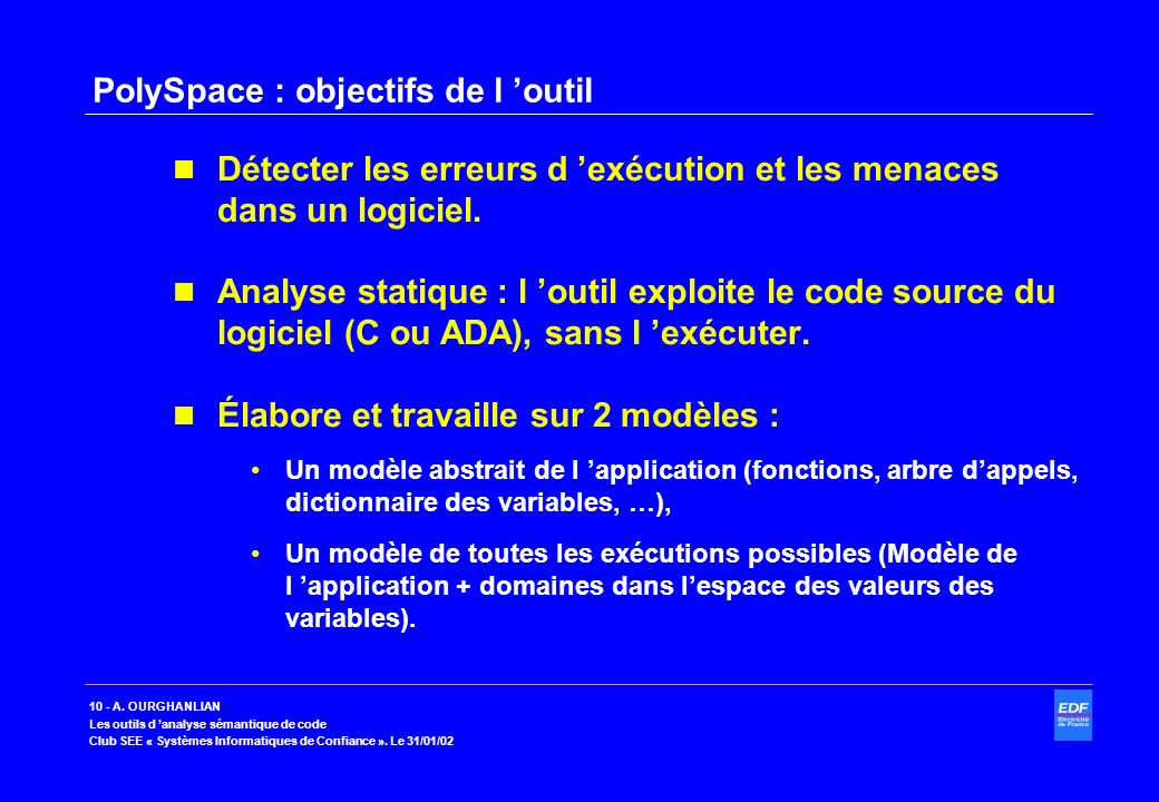PolySpace : objectifs de l 'outil