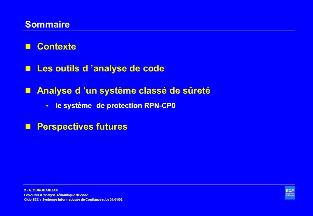 Les outils d 'analyse de code Analyse d 'un système classé de sûreté