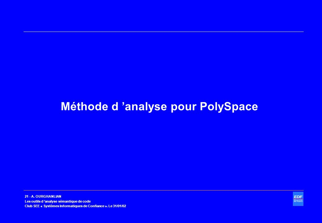 Méthode d 'analyse pour PolySpace