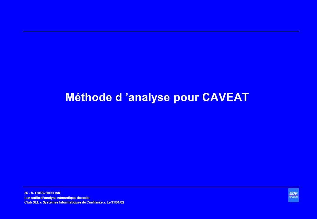 Méthode d 'analyse pour CAVEAT