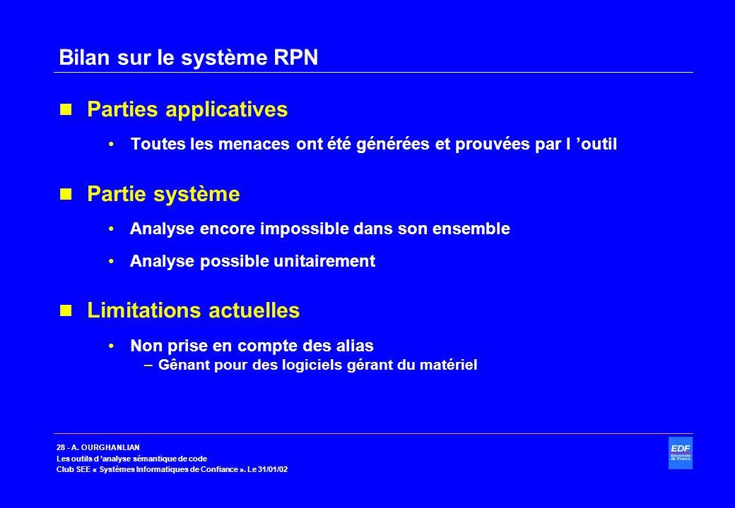 Bilan sur le système RPN