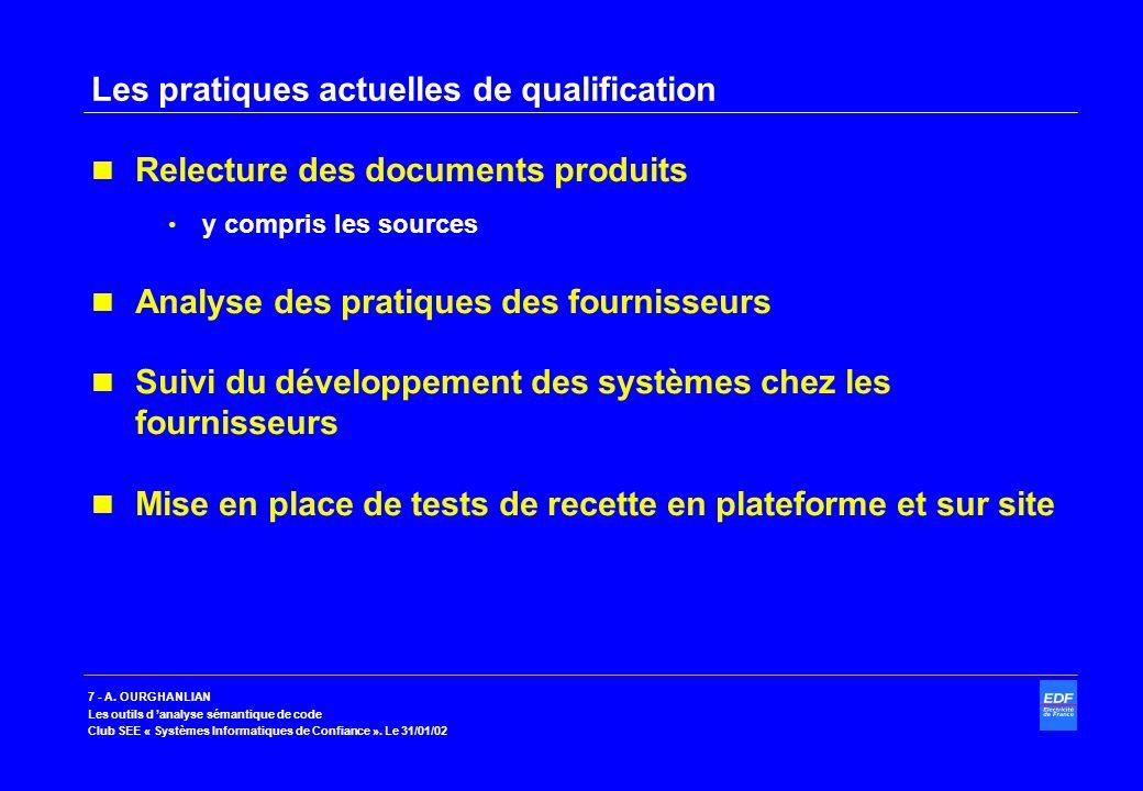 Les pratiques actuelles de qualification