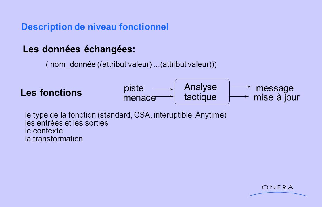 Description de niveau fonctionnel
