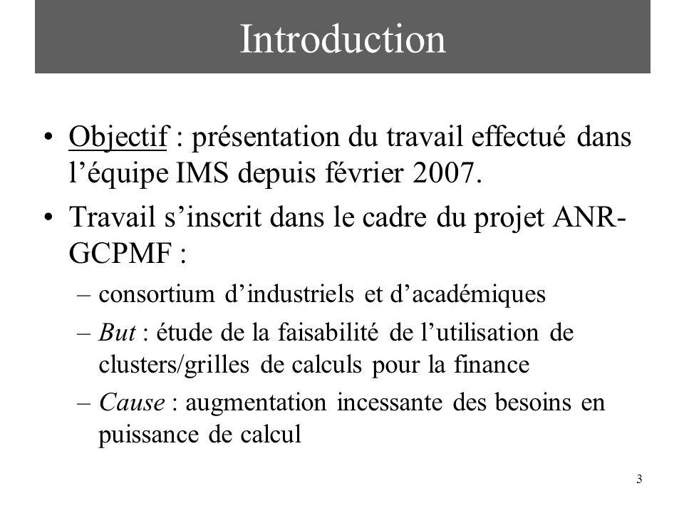 Introduction Objectif : présentation du travail effectué dans l'équipe IMS depuis février 2007.