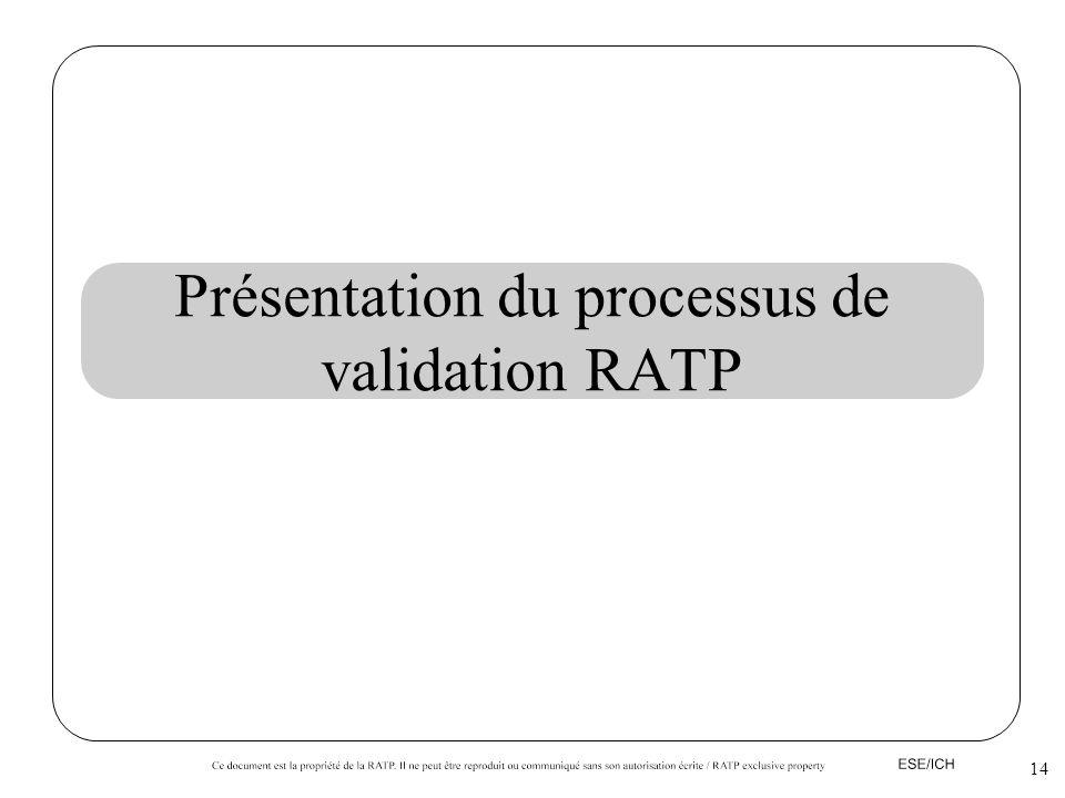 Présentation du processus de validation RATP