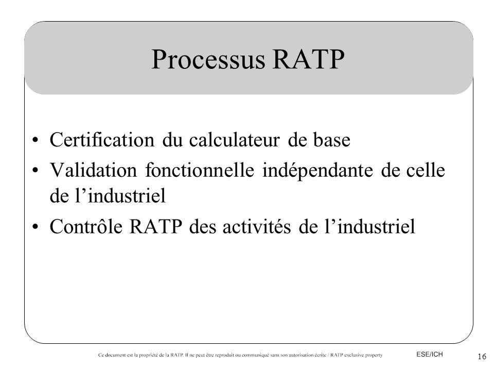 Processus RATP Certification du calculateur de base