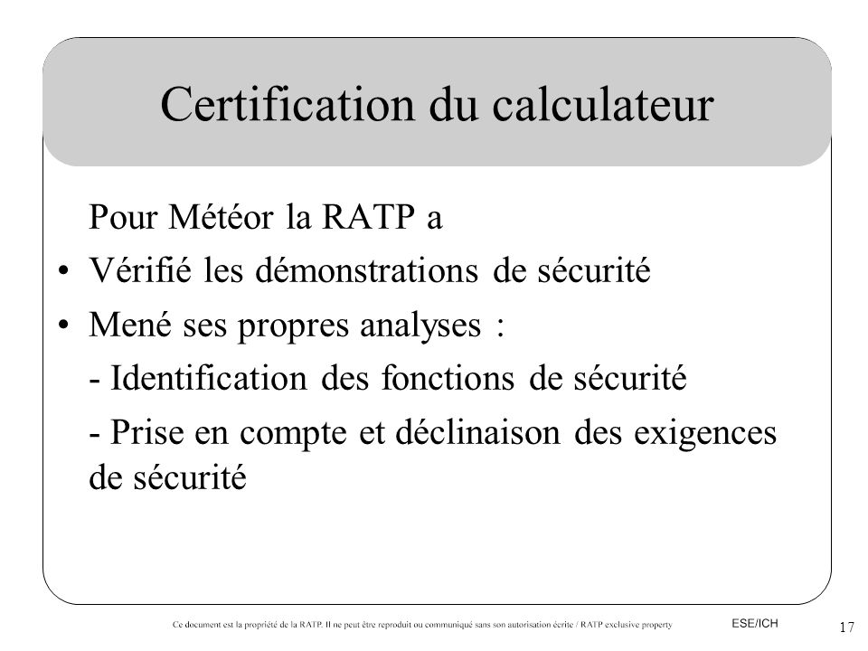 Certification du calculateur