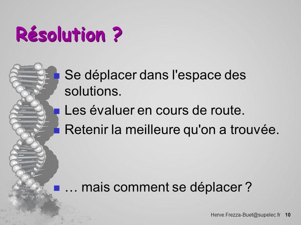 Résolution Se déplacer dans l espace des solutions.