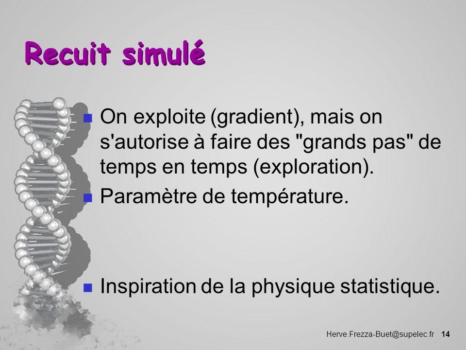 Recuit simulé On exploite (gradient), mais on s autorise à faire des grands pas de temps en temps (exploration).