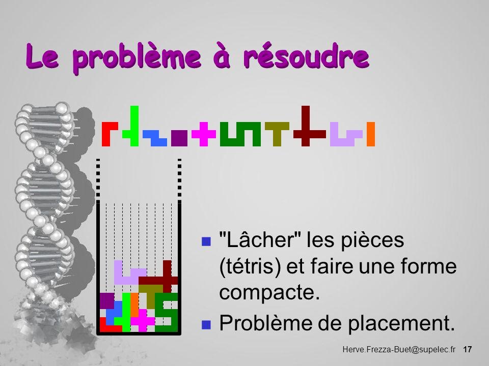Le problème à résoudre Lâcher les pièces (tétris) et faire une forme compacte.