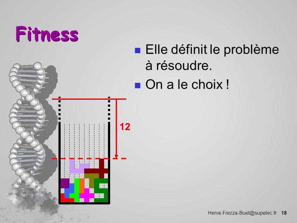 Fitness Elle définit le problème à résoudre. On a le choix ! 12