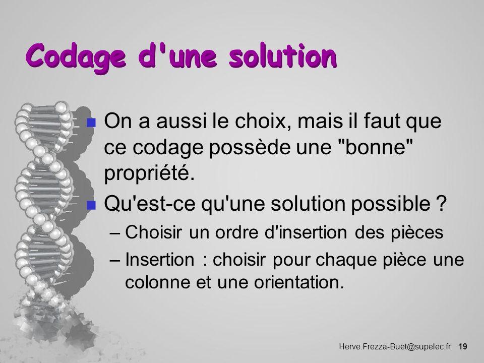 Codage d une solution On a aussi le choix, mais il faut que ce codage possède une bonne propriété.