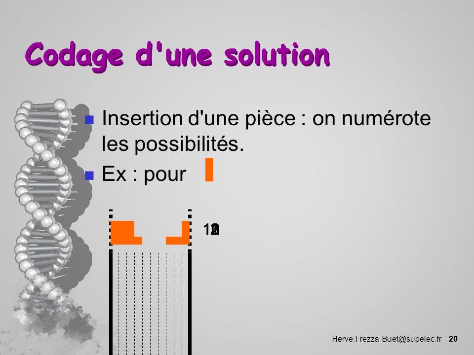 Codage d une solution Insertion d une pièce : on numérote les possibilités. Ex : pour. 1. 11. 12.