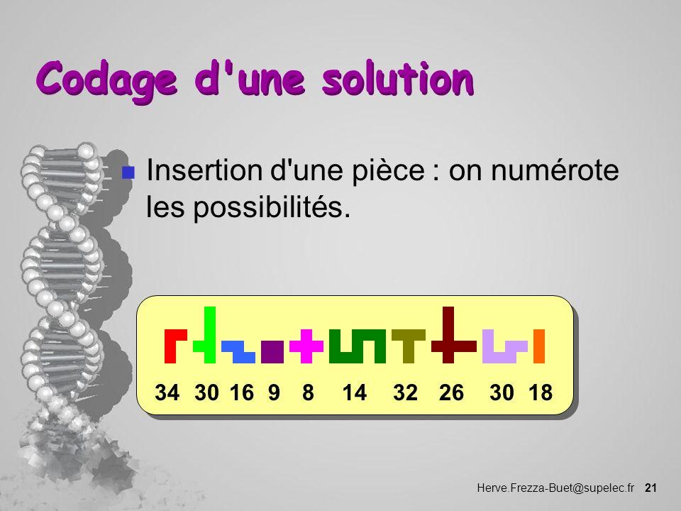 Codage d une solution Insertion d une pièce : on numérote les possibilités. 18. 30. 26. 32. 14.