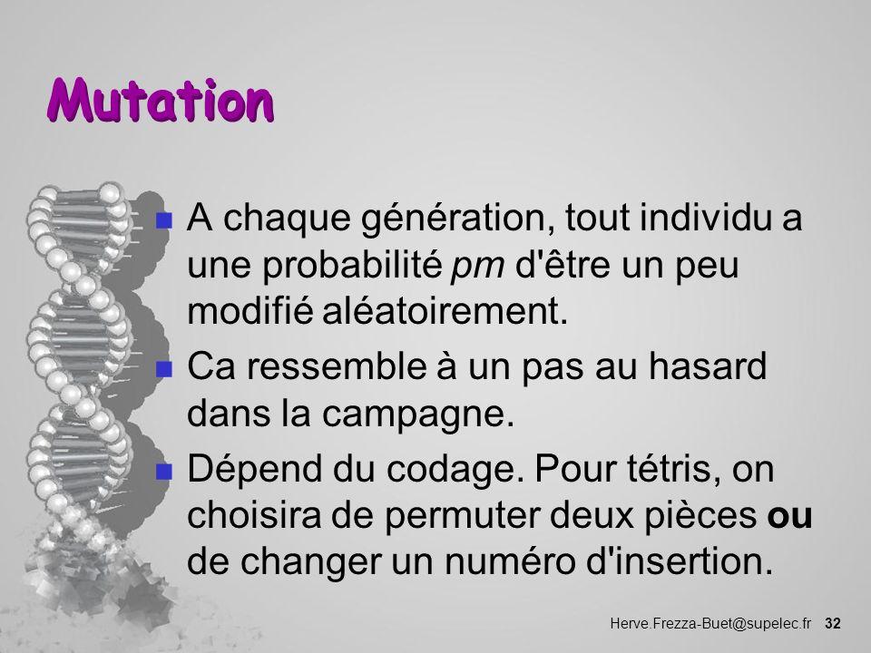 Mutation A chaque génération, tout individu a une probabilité pm d être un peu modifié aléatoirement.