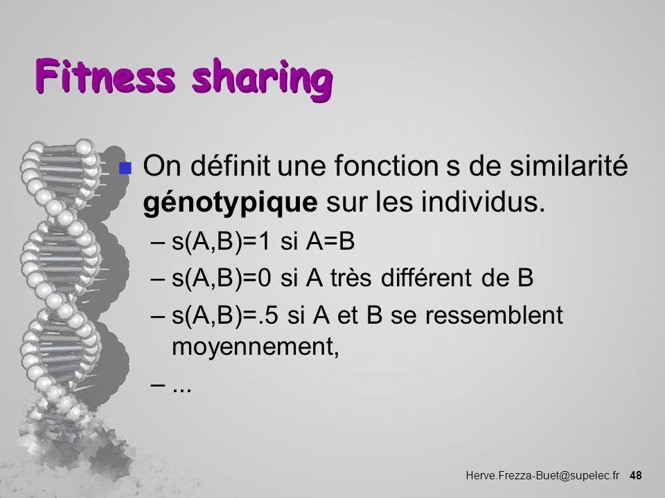 Fitness sharing On définit une fonction s de similarité génotypique sur les individus. s(A,B)=1 si A=B.