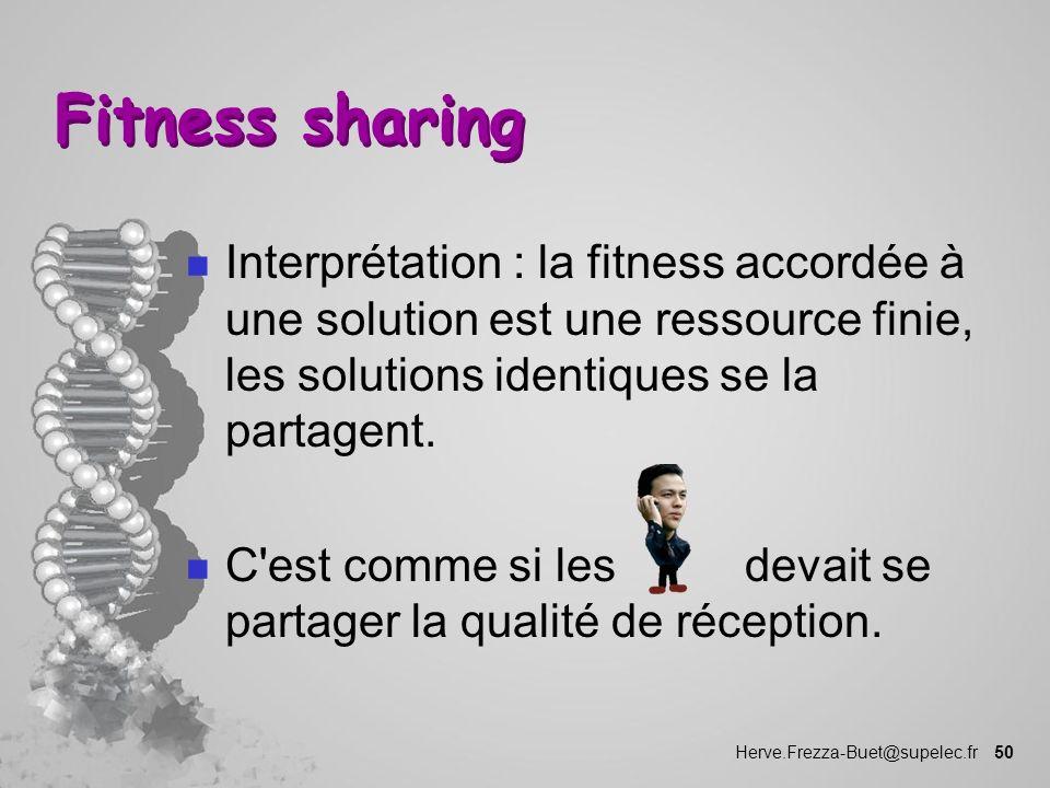 Fitness sharing Interprétation : la fitness accordée à une solution est une ressource finie, les solutions identiques se la partagent.