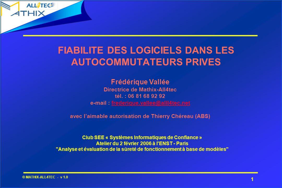 FIABILITE DES LOGICIELS DANS LES AUTOCOMMUTATEURS PRIVES