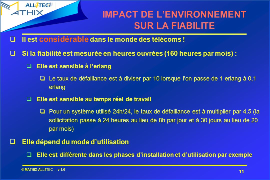 IMPACT DE L'ENVIRONNEMENT SUR LA FIABILITE
