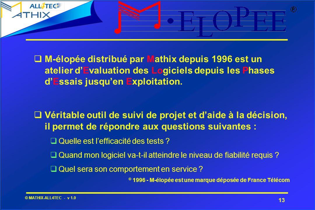 M-élopée distribué par Mathix depuis 1996 est un atelier d'Evaluation des Logiciels depuis les Phases d'Essais jusqu'en Exploitation.