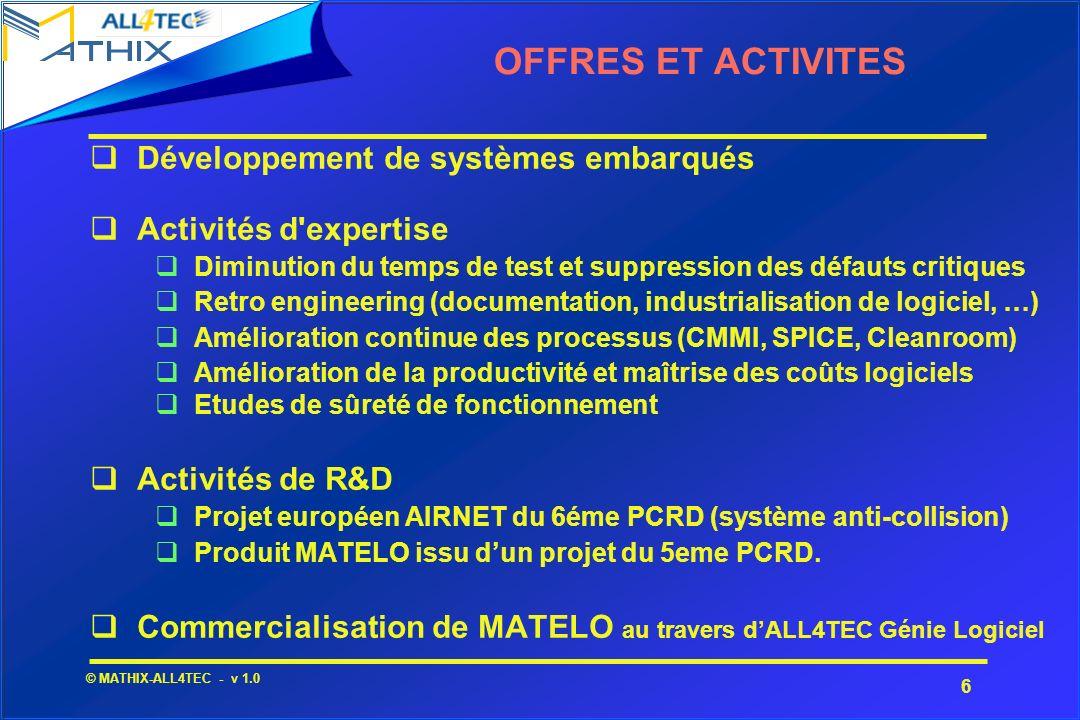 OFFRES ET ACTIVITES Développement de systèmes embarqués