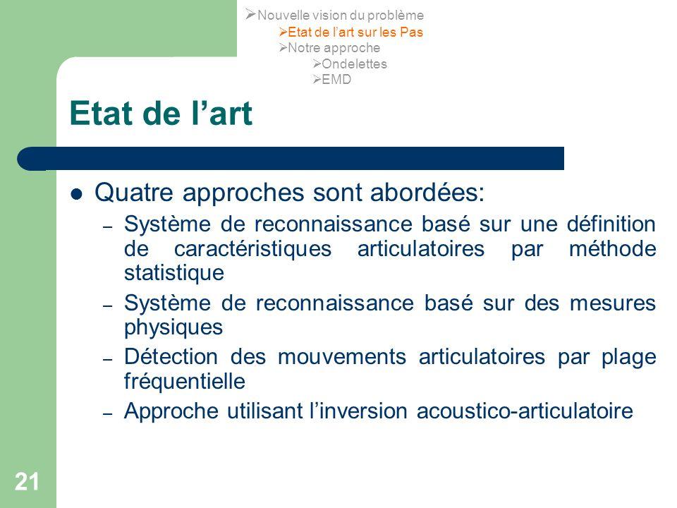 Etat de l'art Quatre approches sont abordées: