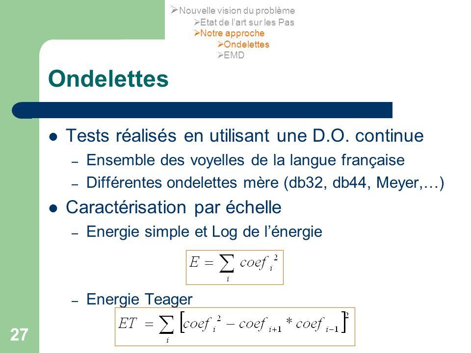 Ondelettes Tests réalisés en utilisant une D.O. continue