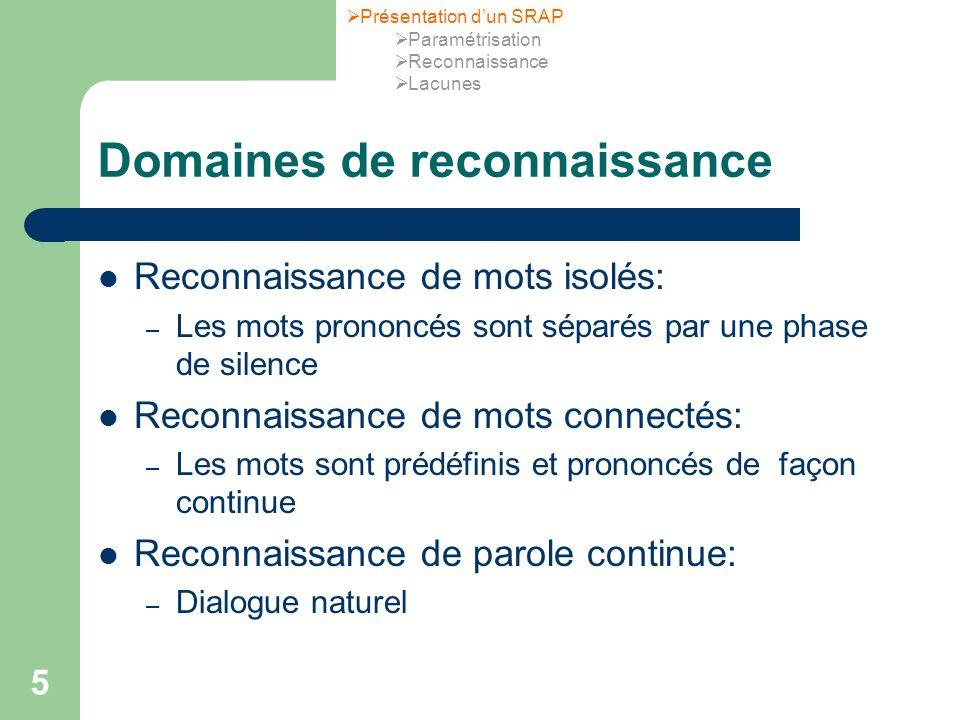 Domaines de reconnaissance