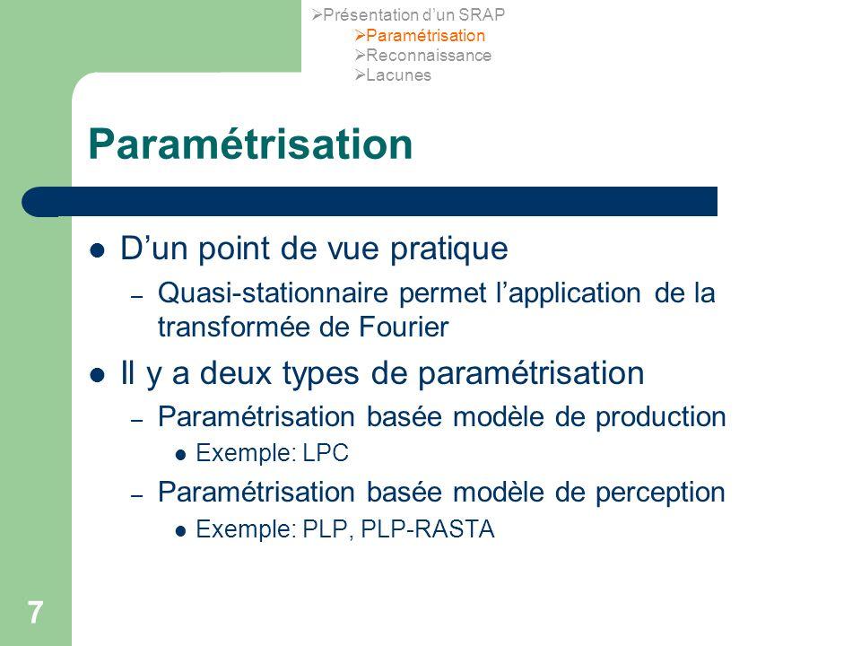 Paramétrisation D'un point de vue pratique
