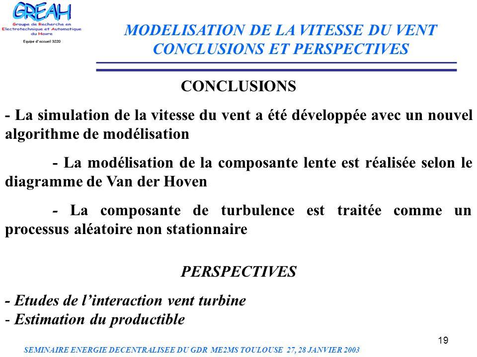 MODELISATION DE LA VITESSE DU VENT CONCLUSIONS ET PERSPECTIVES