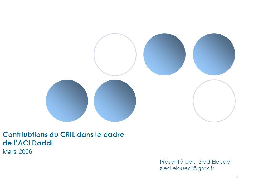 Contriubtions du CRIL dans le cadre de l'ACI Daddi